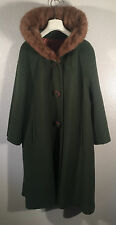 VINTAGE 50's 60's Green Wool Sears Fashion Coat with Real Mink Collar A BEAUTY!!