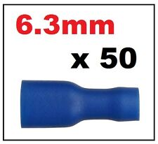 50 x Blue Female Electrical Spade Connector Fully Insulated Crimp Terminal 6.3mm