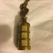 Vintage Brass And Bakelite? Perfume Bottle Necklace