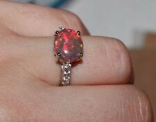 fire opal cz ring gems silver jewelry 6.5 7.5 engagement wedding cocktail band