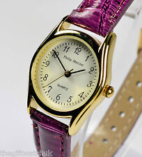 Philip Mercier Purple Ladies Watch Easy Read, Quality Quartz, Faux Shiny Leather