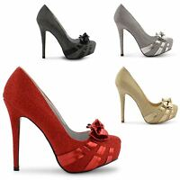 NEW LADIES PARTY PLATFORM HIGH HEELS CONCEALED STILETTO COURT SHOES SIZE 3-8