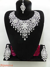 New Indian Bollywood Costume Jewellery Necklace Set Silver Design Wedding