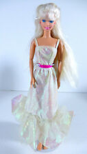 BARBIE DOLL DRESSED 1983 PRETTY CRYSTAL OPALESCENT GOWN BLONDE PINK EARRINGS
