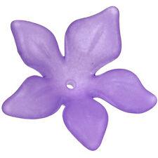 Lucite Plumeria Flower Beads Matte Medium Purple 26mm/6