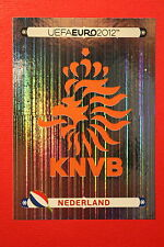 Panini EURO 2012 N. 166 NEDERLAND BADGE  NEW With BLACK BACK TOPMINT!!