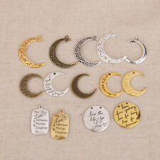 14 x Retro Round & Crescent Moon Charms Pendants For Jewellery Making Crafts
