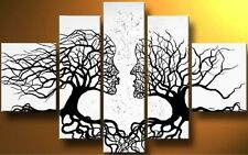 Tree Of Life 5PC Abstract Hand Painted Oil Painting Canvas Wall Decor Art white
