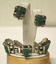 VTG Taxco Mexico Sterling Silver & Green Onyx Carved Aztec Bracelet & Earrings!