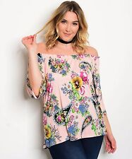 Cowgirl Gypsy Boho FLORAL Flowers Off shoulder Top Shirt Blouse Ladies size 1XL