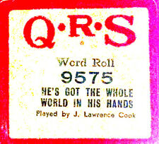 QRS Word Roll HE'S GOT THE WHOLE WORLD IN HIS HANDS 9575 Cook Player Piano Roll