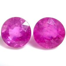NATURAL AWESOME PINK RUBY LOOSE GEMSTONES (PAIR) ROUND-CUT