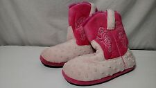 Montana Silversmiths Youth Girls 6-7 Pink Cowboy Kickers Fuzzy Boot Slippers!!