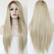 60 Synthetic Lace Front Wig Heat Resistant Long Wavy Light Blonde Full Hair Wigs