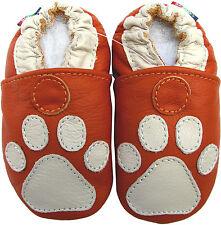 carozoo soft sole leather baby shoes paw orange 0-6m
