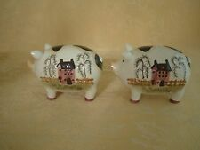 Delton Salt & Pepper Set Early American Country Heritage Pigs