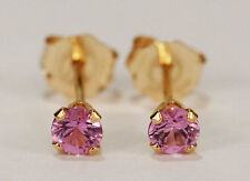 PETITE! GENUINE NATURAL MINED PINK SAPPHIRE EARRINGS~ 14 KT YELLOW GOLD~3MM