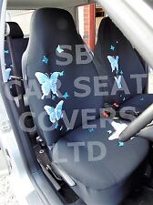 i - TO FIT A PEUGEOT 206 CAR, SEAT COVERS, HIGH BACK, BLUE BUTTERFLY