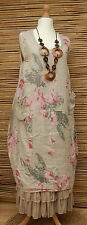 LAGENLOOK LINEN BEAUTIFUL FLORAL 2 POCKETS LONG TUNIC/DRESS*LIGHT BEIGE*Sz L-XL