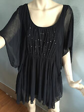 BNWT Womens Sz 20 Autograph Black Sequin Bodice Batwing Sleeve Tunic RRP $70