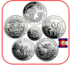2013, 2014, 2015, 2016, & 2017 Parade of Somalia (Somali) Elephants Silver Coins