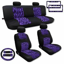 Purple Zebra Knit Mesh Cloth Seat Cover Set Auto Interior Animal Print 13pc CS5