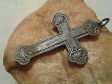 Antique Russian Orthodox Cross SAVE PROTECT Saints Barbara, Anthony, Theodosius