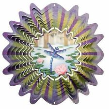 Iron Stop Holographic Animated Dragonfly Hanging Metal Wind Spinner Outdoor