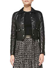 New Lambskin Cropped Leather Jacket Bolero Shrug Quilted Biker Top Women Chic