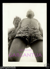 UPWARD ANGLE INTO CROTCH BULGE of BATHING SUIT MAN & GAY BOY FRIEND! 40s PHOTO