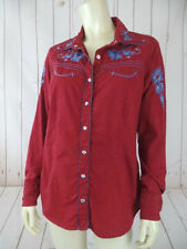 Back in the Saddle Blouse S Red Batik Print Snap Front Embroidery Western Cowboy