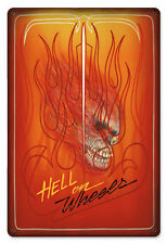 "The Original Flamed Pinstriped Hell On Wheels Heavy Metal Sign 12""x18"" AWESOME!"