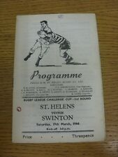 19/03/1966 Rugby League Programme: St Helens v Swinton [League Challenge Cup] (h
