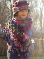 Knitting Pattern - Girls Poncho Multi-coloured & Hat