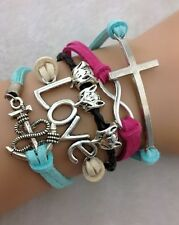 NEW Infinity Love Cross Fox Anchor Leather Charm Bracelet plated Silver