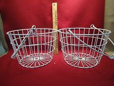 Pair of Rustic Country Farmhouse White Metal Baskets with Metal Handle
