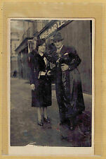 Carte Photo vintage card RPPC homme femme chapeau manteau mode fashion ph0296