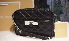 NWT Michael Kors SUZANNAH Medium Messenger Quilted Leather Bag BLACK $248