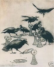 ARTHUR RACKHAM THE CROWS RAVEN BIRD CROW TREE  MOUNTED PRINT FANTASY FAIRYTALE