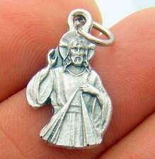 MRT Divine Mercy Jesus Figure Silver Plate Metal Pendant Medal Catholic Gift