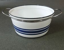 Catherineholm Norway Enamelware Blue Stripe Double Handle Dutch Oven No Lid EUC