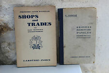 Lot 2 anciens livres scolaires Anglais commercial + Shops and Trades Larousse