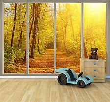 "Golden Autumn View Seen Through Sliding Glass Doors|3D Vinyl Wallpaper- 66""x96"""
