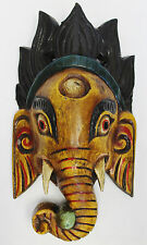 R765 Stunning Hindu God Ganesh Wooden Mask Wall Hanging Handmade in Nepal