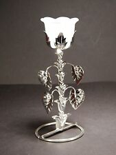 Metal flower shaped tea light holder / stand with glass , silver color #4