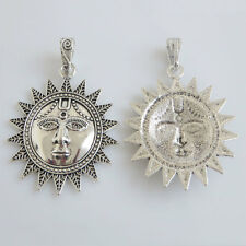2 Antique Silver Tone Large Charms Sun Face Pendant For Necklace Making Findings