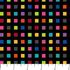 COLORWORKS~NORTHCOTT FABRIC~BY 1/2 YD~MULTICOLOR SQUARES ON BLACK~20788-99