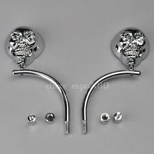 Universal Motorcycle Bike Skeleton Skull Rear view Side Mirror 8mm 10mm Chrome
