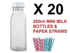 20 x 250ml PLASTIC Mini MILK JUICE Bottles PAPER STRAWS CHILDRENS BIRTHDAY PARTY