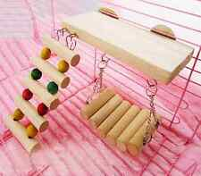 Wooden Hanging Ladder Swing Bridge Cage Toys For Parrot Bird Mouse Rat Hamster E
